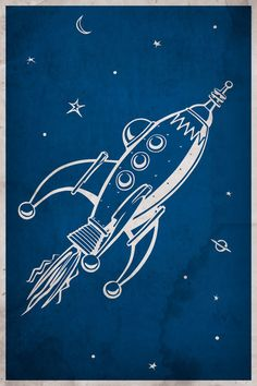 11x17 Retro Rocket Poster with Custom Text. $20.00, via Etsy.