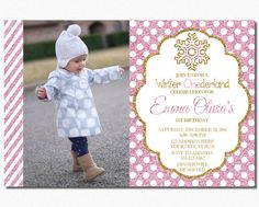 Winter Birthday Invitation  Winter ONEderland by PuggyPrints