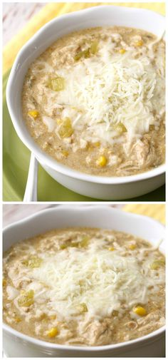 Crock Pot Green Chile Chicken Enchilada Soup - our favorite and all made in the crock pot!! { lilluna.com }