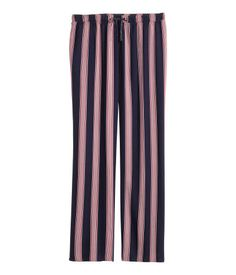 Dark blue/Striped. Patterned pyjama bottoms in a soft viscose weave with an elasticated drawstring waist.