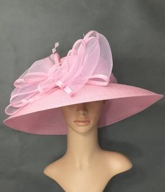 5dc816ca0930de Pink Kentucky Derby Hat Derby Hat Dress Hat Wedding Hat Wide Brim Hat Tea  Party Hat