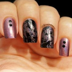 "Nails Nailart - plastic wrap mani using OPI ""Black Onyx"" and China Glaze ""When Stars Collide"" --- Instagram @majikbeenz"