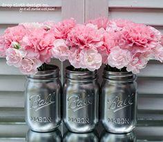 wedding favors with mason jars idea | metallic silver mason jars set of 3 pint sized mason jars spray ...