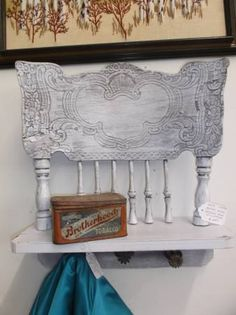 $25 - Up-Cycled coat rack made from an antique chair and sprinkler heads, painted in a whitewash finish.***** In Booth D16 at Main Street Antique Mall 7260 E Main St (east of Power RD on MAIN STREET) Mesa Az 85207 **** Open 7 days a week 10:00AM-5:30PM **** Call for more information 480 924 1122 **** We Accept cash, debit, VISA,