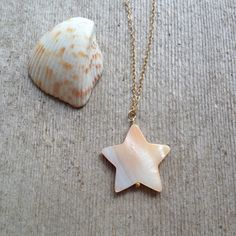 Mother of Pearl Star Necklace w/ Dainty 14k Gold Filled Chain / Nacre Shell Jewelry by MuffyandTrudy on Etsy