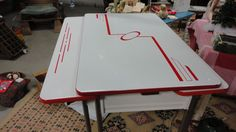 RETRO 1950's RED ENAMEL KITCHEN TABLE CHROME LEGS W/ SILVERWARE DRAWER & 2 LEAFS in Antiques, Furniture, Dining Sets | eBay