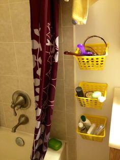 DIY storage for tiny bathroom using dollar store baskets and hooks. #DIY  #storage