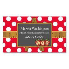 Substitute teacher business cards printable by 3lbd on etsy polka dots chalkboard teachers business card reheart Choice Image