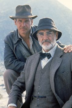 """Dr (Henry) 'Indiana' Jones Jnr and Professor Henry Jones Snr. ( Harrison Ford and Sean Connery) from """"Indiana Jones And The Last Crusade"""". Indiana Jones Last Crusade, Film Mythique, Henry Jones, Bon Film, Actrices Hollywood, Marlon Brando, Keanu Reeves, Great Movies, Famous Faces"""
