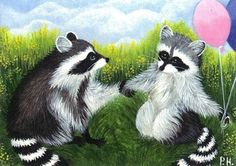 ACEO, PRINT, RACCOON, LOVE, BALLOON
