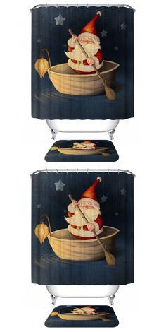 Santa Claus Pattern Waterproof Bathroom Christmas Shower Curtain