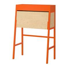 IKEA - IKEA PS 2014, Sekretär, orange/Birkenfurnier, , Vorgebohrte Öffnung für einfache Kabelorganisation.Einfach den Deckel hochklappen und schon sieht nach getaner Arbeit alles aufgeräumt und ordentlich aus.