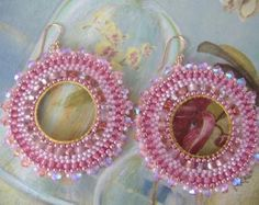 Beadwork Hoop Earrings Crystal Goddess Seed Bead by WorkofHeart