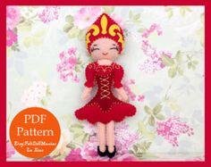 Japanese Geisha Doll. PDF Pattern. Felt Doll.