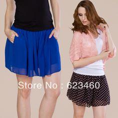 Free shipping Chiffon skirt pants plus size loose shorts high waist shorts summer skorts basic women trousers wide leg pants