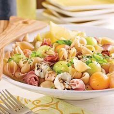 Salade de coquilles au prosciutto, melon et mozzarina - Soupers de semaine - Recettes 5-15 - Recettes express 5/15 - Pratico Pratique