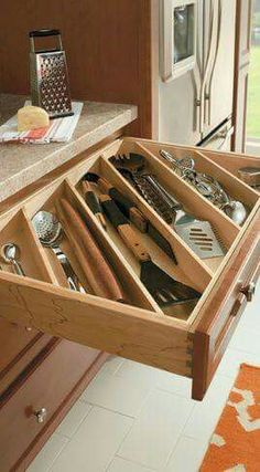Cutlery Utensil Divider - traditional - cabinet and drawer organizers - other metro - MasterBrand Cabinets, Inc. Cutlery Utensil Divider - traditional - cabinet and drawer organizers - other metro - MasterBrand Cabinets, Inc. Kitchen Cabinet Organization, Kitchen Storage, Home Organization, Drawer Storage, Cutlery Storage, Organizing Ideas, Hidden Storage, Utensil Organizer, Tool Storage