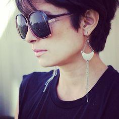 crescent moon silver earrings.. www.fleamarketgirl.com