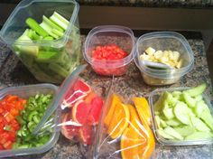 If you cut up all of your fruits and veggies ahead of time and have them in the fridge... you will see them and crave them... then grab and go!