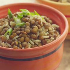 Baked Curried Brown Rice & Lentil Pilaf over spinach - Delish.com hmm ...