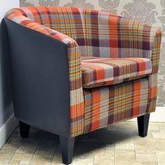 Orange Check Fabric & Faux Leather Tub Arm Chair