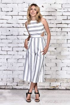 We're OBSESSED with our Beckham jumpsuit, so chic and so lust worthy. Shop via: http://www.urbansport.com.au/home/426-beckham-stripe-cut-out-jumpsuit-grey-white.html