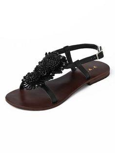 HAK - goat leather sandals flower motif
