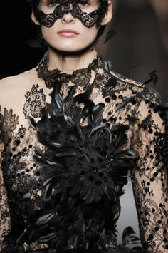 "A Chrysalis dress in bronze and black organza with encrusted lacquered lace  Tattoo dress ""oiseaux de nuit"" in Chantilly lace, feathers and ""lave"""