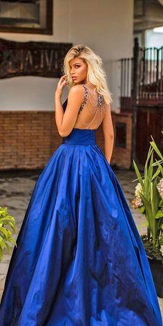 Something Blue: 30 Blue Wedding Gowns For your Happy Wedding ❤  blue wedding dresses a line navy low back tarik ediz #weddingforward #wedding #bride White Bridal Dresses, Formal Dresses, Ball Gowns, Marriage, Romantic, Bride, Celebrities, Beautiful, Fashion