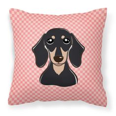 Carolines Treasures Checkerboard Pink Smooth Black and Tan Dachshund Square Decorative Outdoor Pillow - BB1215PW1414
