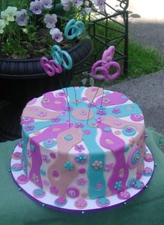 Groovy 60th birthday cake.