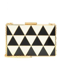 Valentino - Box clutch - With a graphic black and white geometric design, this box clutch from Valentino assures all eyes will be on you at your next special occasion. The gold-tone hardware finishes the look on a glamorous note. Carry it in your hand or over your shoulder with the chain strap. seen @ www.mytheresa.com