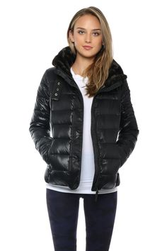 Say hello to the jacket of the season! Features a faux fur brown collar with a hidden hood that unzips. Model is wearing a size XS Shell: Nylon Lining: 10 Faux Fur, Winter Jackets, Women's Fashion, Model, How To Wear, Winter Coats, Fashion Women, Winter Vest Outfits