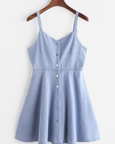 Shop Blue Single Breasted Slip Denim Dress at ROMWE, discover more fashion styles online. Cute Dresses, Casual Dresses, Short Dresses, Casual Outfits, Summer Outfits, Cute Outfits, Summer Dresses, Slip Dresses, Mini Dresses