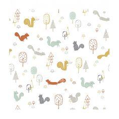 """Papier peint """"ecureuils"""" par Lizzie Mackay - Lilipinso - Dröm"""