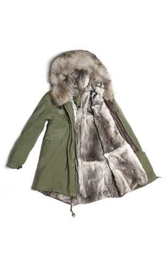 Slim Fit Army Green Parka With Natural Grey Lapin Lining And A Murmasky Hood by MR & MRS ITALY for Preorder on Moda Operandi