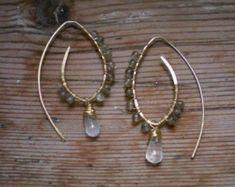 labradorite earrings, brass earrings, brass jewelry, labradorite jewelry