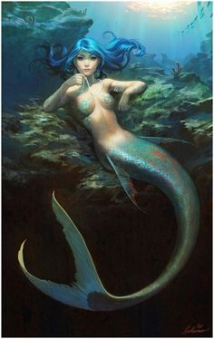 I love all fantasy and mythical stuff, but my favorite ones are mermaids.So this is a collection of mermaid images I've been picking all over the internet. Whenever possible I indicate source and author. Mermaid Fairy, Mermaid Tale, Siren Mermaid, Fantasy Mermaids, Mermaids And Mermen, Magical Creatures, Sea Creatures, Mermaid Photos, Digital Art Gallery