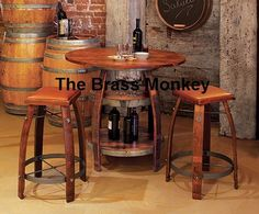 "Indoor Outdoor Napa Style Wine Barrel Bistro Pub Rustic Solid Wood 40"" Table"