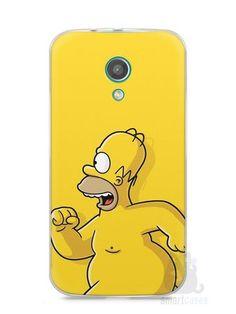 Capa Moto G2 Homer Simpson Correndo Pelado