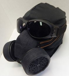 NINJA MASK - 3 pc set Black GOGGLES and Steampunk Gas Mask Respirator with 3 Hole Pull Over Riding Dust Mask by jadedminx on Etsy