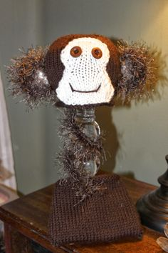 Lovewhorls Knits Monkey Hat with Diaper Cover 22.50