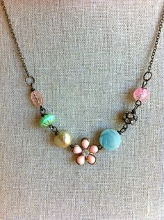 Clementine. vintage pink flower,rhinestone,pearl,beaded necklace. Tiedupmemories