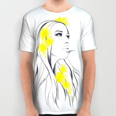 #alloverprint #tshirt #clothing #illustration #woman #yellow