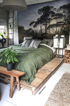 38 free small bedroom design ideas you need to make look bigger new 2019 4 38 free small bedroom design ideas you need to make look bigger new 2019 4 Bohemian Style Bedrooms, Trendy Bedroom, Bedroom Sets, Home Bedroom, Bedroom Decor, Master Bedroom, Bedroom Furniture, Bohemian Interior, Bedroom Green