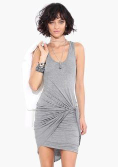 James Knotted Dress in Grey | Necessary Clothing