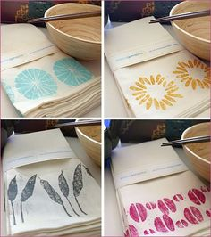 These artistic, hand-printed cotton napkins by Jessica Gonacha would make a lovely & unique hostess or housewarming gift – or a creative addition to yo Stamp Printing, Screen Printing, Block Printing On Fabric, Block Print Fabric, Hand Printed Fabric, Printed Napkins, Printed Cotton, Cloth Napkins, Cotton Napkins