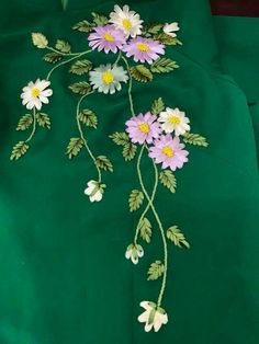50 New Ideas For Embroidery Patterns Flowers Design Hand Kurti Embroidery Design, Hand Embroidery Videos, Flower Embroidery Designs, Hand Embroidery Stitches, Crewel Embroidery, Embroidery Techniques, Machine Embroidery Designs, Embroidery Tattoo, Ribbon Embroidery Tutorial