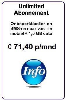 Voor dit abonnement betaalt u € 71,40 per maand en dat 24 maanden lang. En dat is bij elkaar toch € 1.713,60  Via SCnetCall ontnvangt u € 50 direct retour.   Dus dat kost het u maar € 1.663,60  u ook nog eens, na verloop van tijd, € 102,80 retour die binnen het SCnet systeem kan uitgroeien naar maar liefst € 1.028,00  Dus dan kost het nog steeds geld maar nog maar € 635,50!! En dat is per maand € 26,50 in plaats van € 71,40  Dit geldt alleen indien u bent aangemeld bij SCnet.