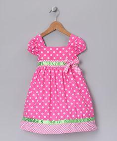 Pink & Lime Polka Dot Dress (make matching bum shorts)